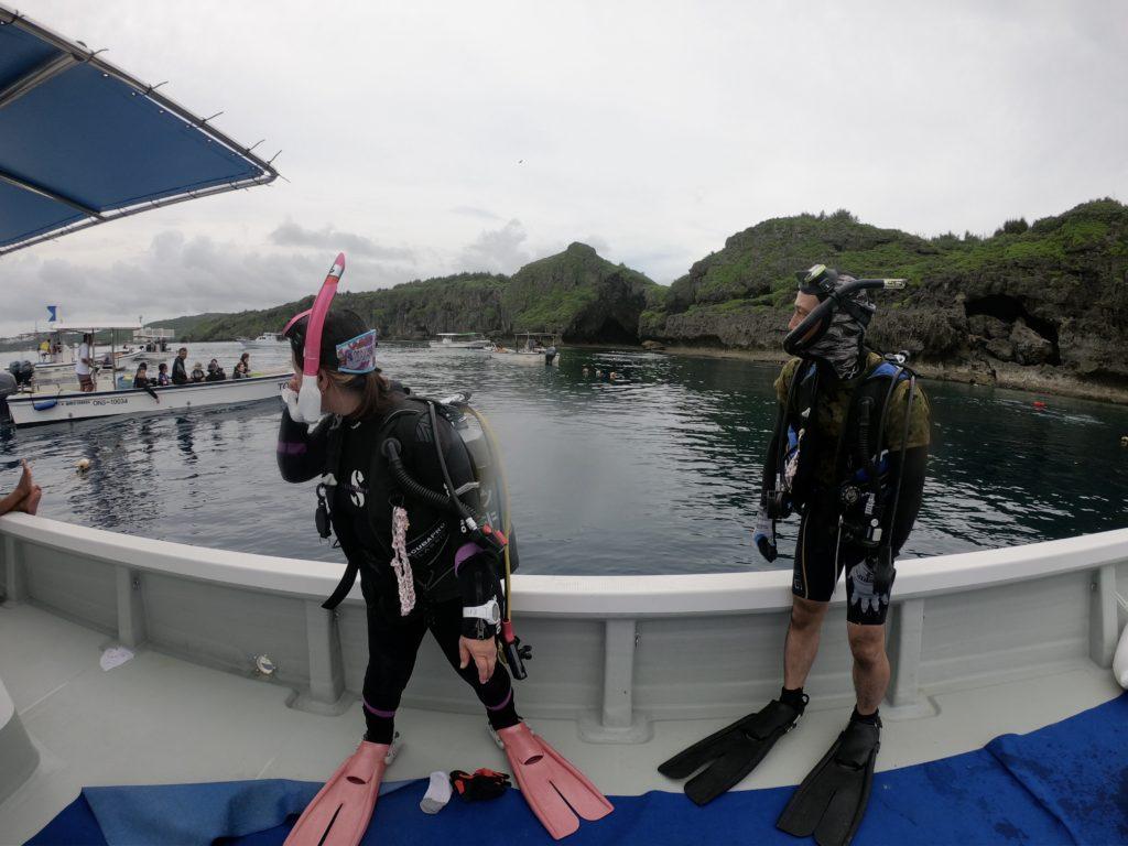 真栄田岬でファンダイビング